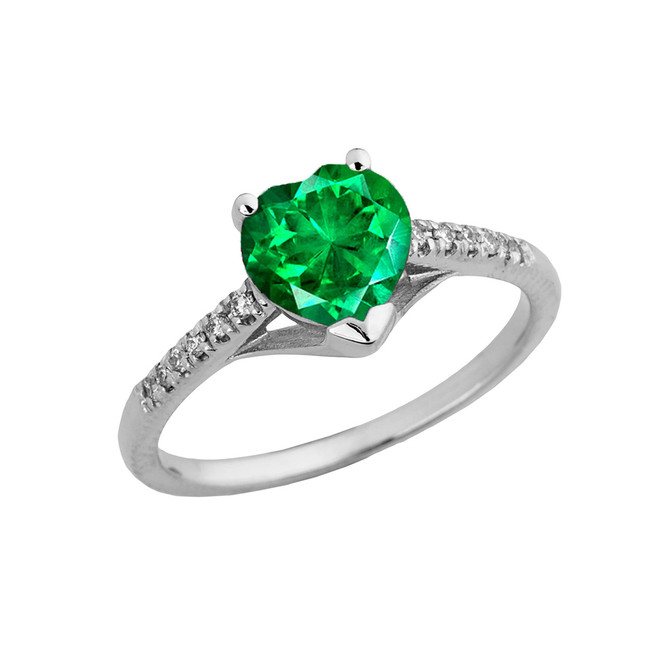 Emerald (LCE) & Diamond Engagement and Proposal Ring in White Gold