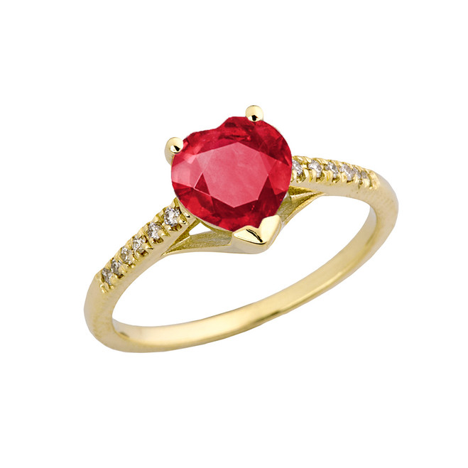 Ruby (LCR) & Diamond Engagement and Proposal Ring in Yellow Gold