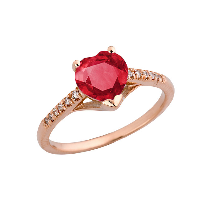 Ruby (LCR) & Diamond Engagement and Proposal Ring in Rose Gold