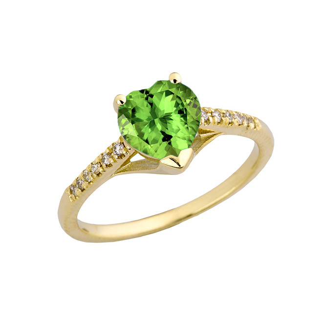 Genuine Peridot & Diamond Engagement and Proposal Ring in Yellow Gold