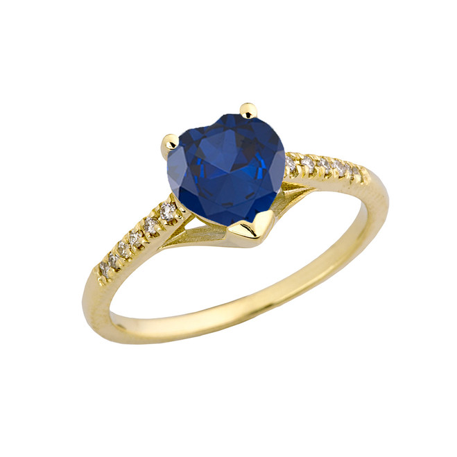 Sapphire (LCS) & Diamond Engagement and Proposal Ring in Yellow Gold