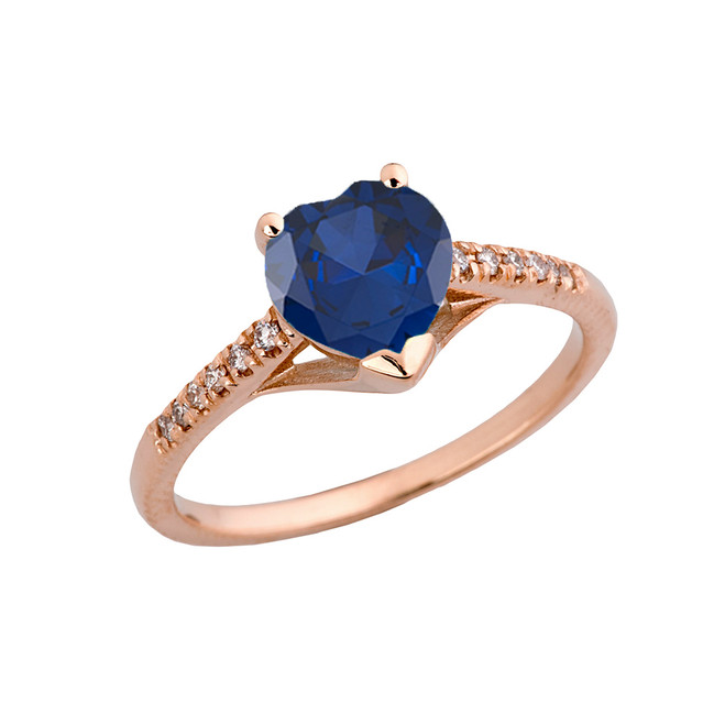 Sapphire (LCS) & Diamond Engagement and Proposal Ring in Rose Gold