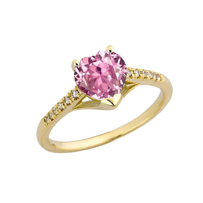 Pink Cubic Zirconia & Diamond Engagement and Proposal Ring in Yellow Gold
