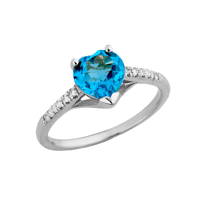 Genuine Blue Topaz & Diamond Engagement and Proposal Ring in White Gold