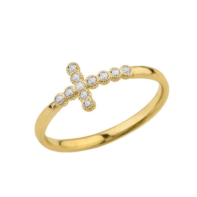 Yellow Gold Dainty Diamond Sideways Cross Ring