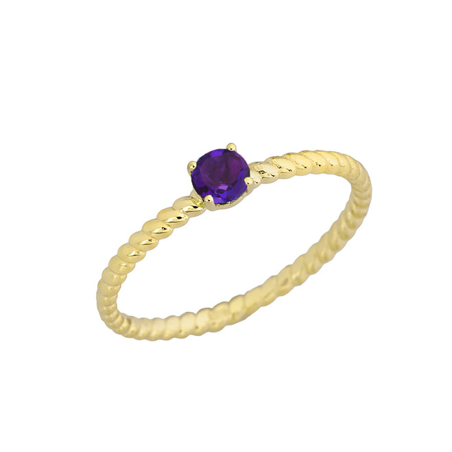 Genuine Amethyst  Stackable  Rope Ring in Yellow Gold