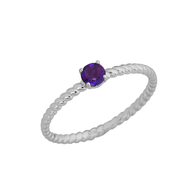 Genuine Amethyst  Stackable  Rope Ring in White  Gold