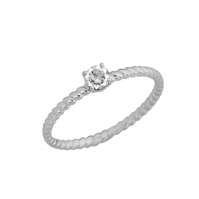 Stackable  Rope Ring With  CZ  in White  Gold