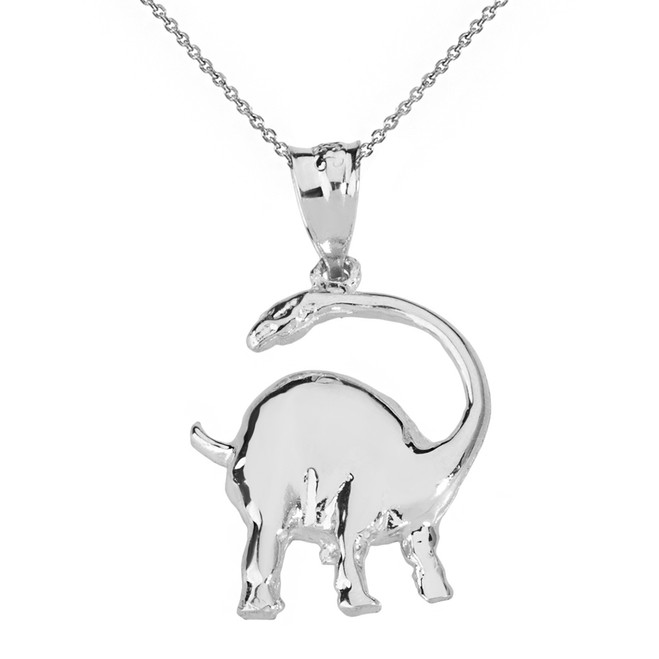 Solid White Gold  Brachiosaurus Dinosaur Pendant Necklace