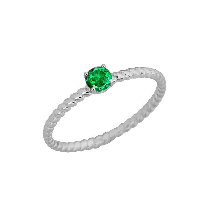 Genuine Emerald Stackable Rope Ring in White  Gold