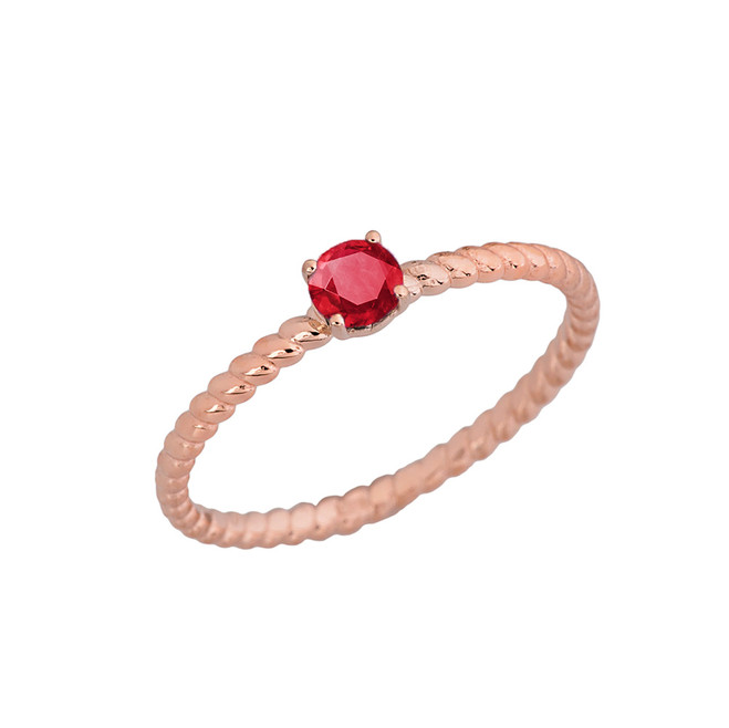 Genuine Ruby  Stackable Rope Ring in Rose  Gold