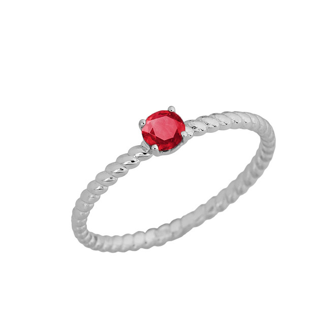 Genuine Ruby  Stackable Rope Ring in White  Gold