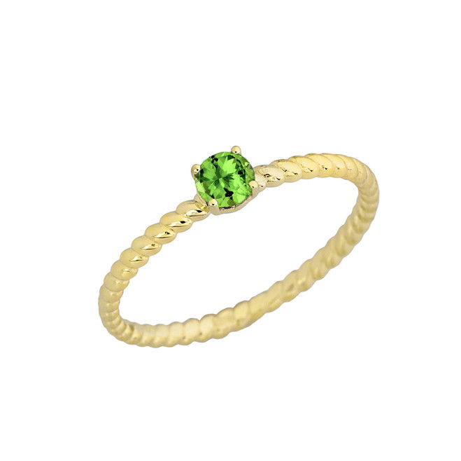 Genuine Peridot  Stackable Rope Ring in Yellow Gold