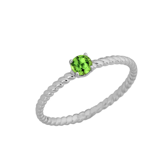 Genuine Peridot  Stackable Rope Ring in White  Gold