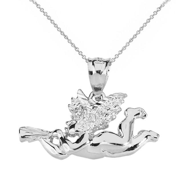 Solid White Gold Cherub Angel Pendant Necklace