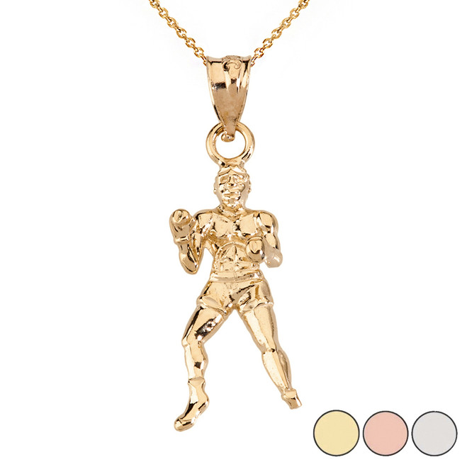 Fight Sports Athletic Boxing Pendant Necklace in Solid Gold (Yellow/Rose/White)