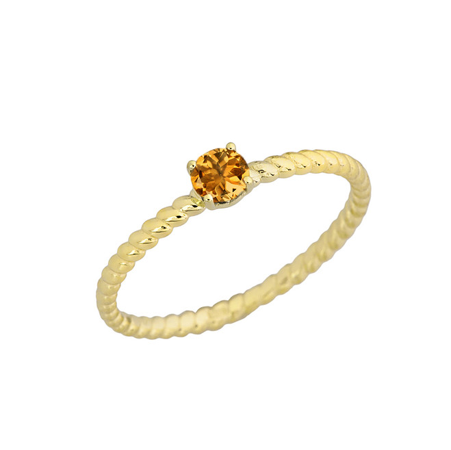Genuine Citrine Stackable Rope Ring in Yellow Gold