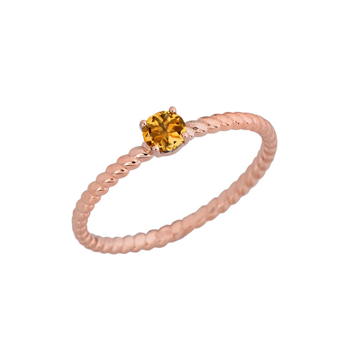Genuine Citrine Stackable Rope Ring in Rose  Gold