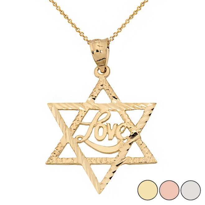 Sparkle Cut Star of David with Cursive Love Font Pendant Necklace in Solid Gold (Yellow/Rose/White)