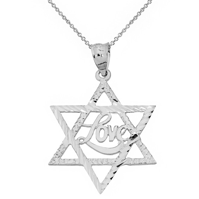 Sterling Silver Sparkle Cut Star of David with Cursive Love Font Pendant Necklace