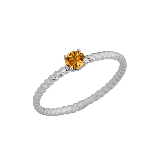 Genuine Citrine Stackable Rope Ring in White Gold