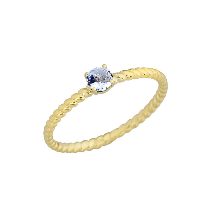 Genuine Aquamarine Stackable Rope Ring in Yellow Gold