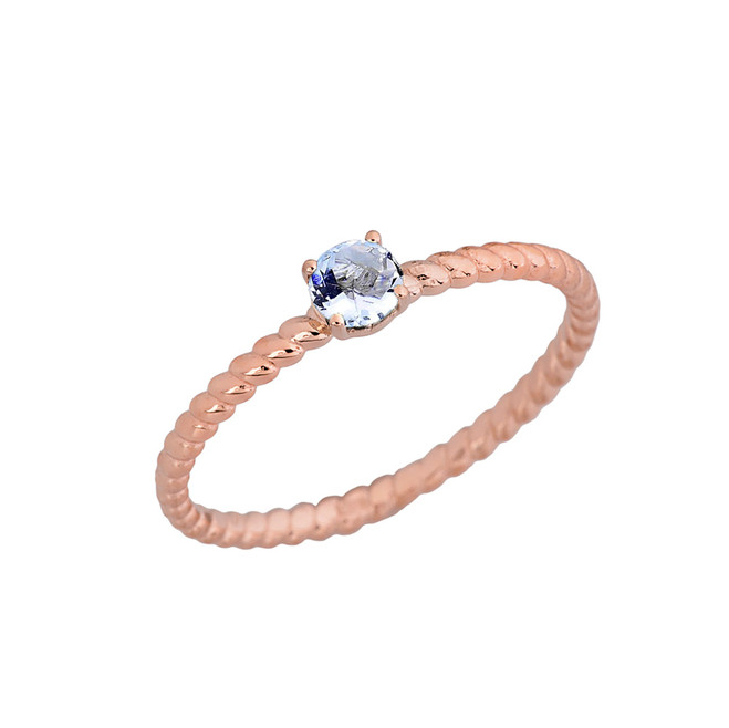 Genuine Aquamarine Stackable Rope Ring in Rose Gold