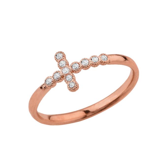 Rose Gold Dainty Diamond Sideways Cross Ring
