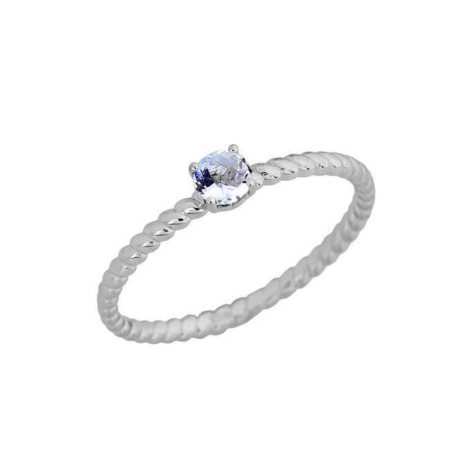 Genuine Aquamarine Stackable Rope Ring in White  Gold
