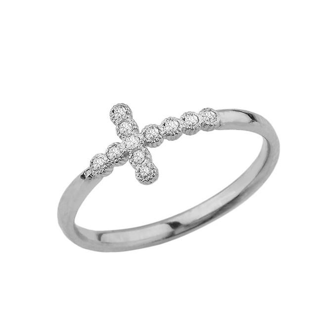 White Gold Dainty Sideways Cross Ring