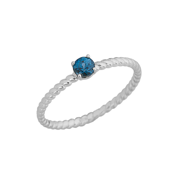 Genuine Blue Topaz  Stackable Rope Ring in WhiteGold