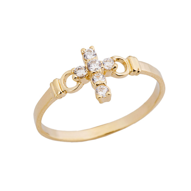 Ladies Purity Cross Ring With CZ In Yellow Gold