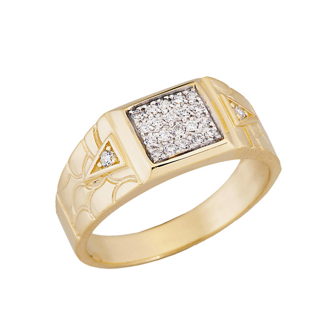 Nugget Diamond Mens Ring in Yellow Gold