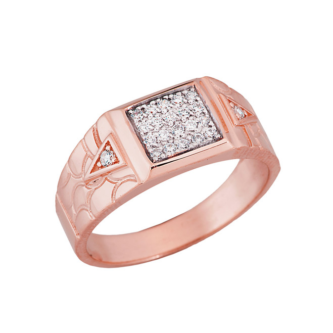Nugget Diamond Mens Ring in Rose Gold