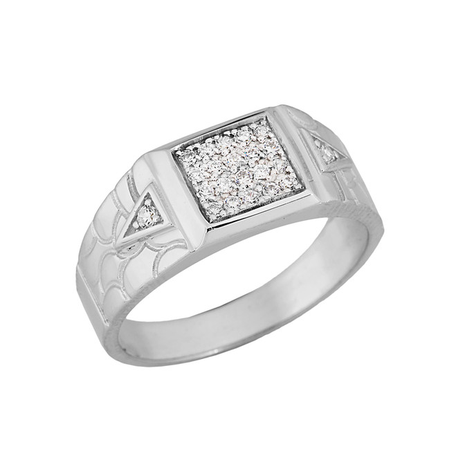 Nugget Diamond Mens Ring in White Gold