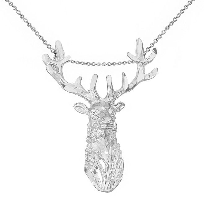 Sterling Silver Stag Deer Head Pendant Necklace