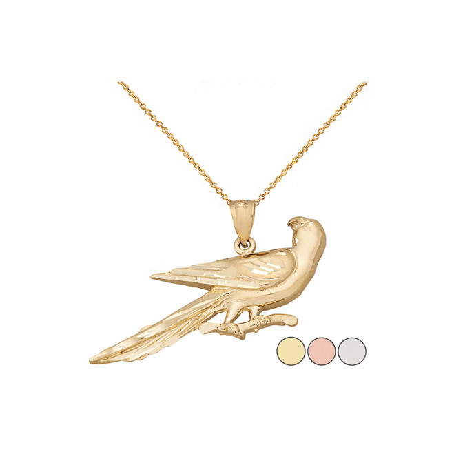 Sparkle Cut Parrot on Branch Pendant Necklace in Solid Gold (Yellow/Rose/White)