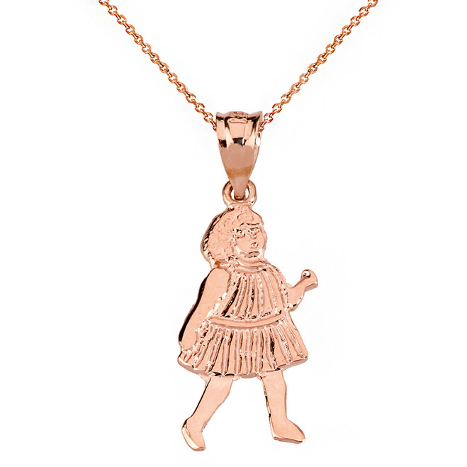 Solid Rose Gold Little Girl Pendant Necklace