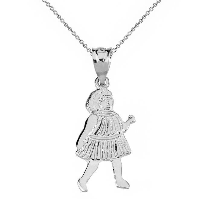 Solid White Gold Little Girl Pendant Necklace