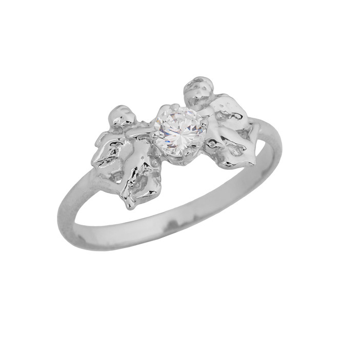 Two Cupid Angels Ring In Sterling Silver