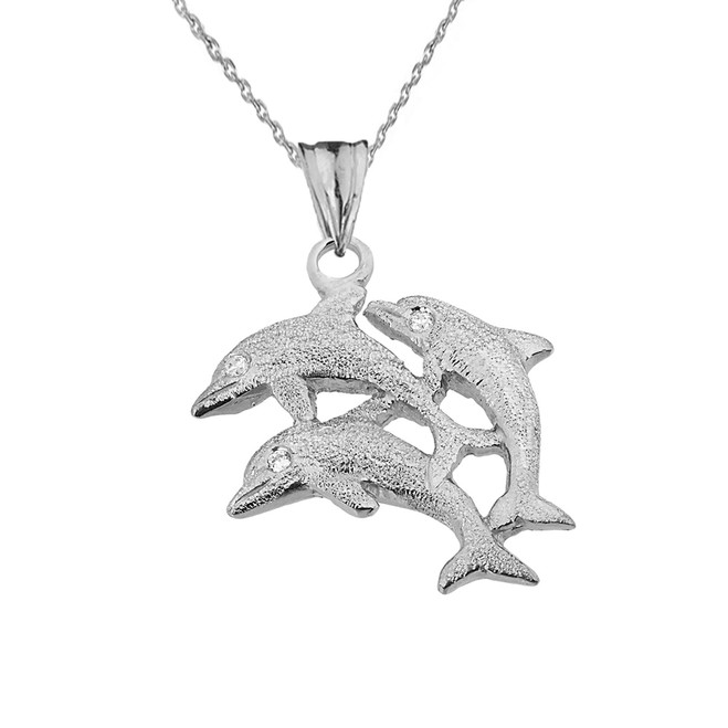 Textured White Gold Three Diamond Dolphins Pendant Necklace