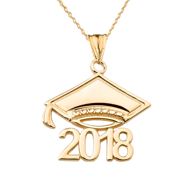 Yellow Gold Class of 2018 Graduation Cap Pendant Necklace