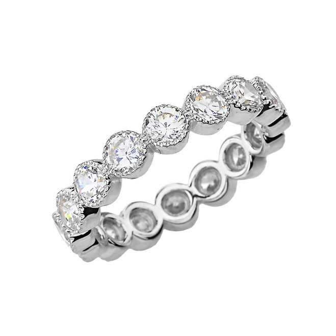 Chic Cubic Zirconia Eternity Band in White Gold