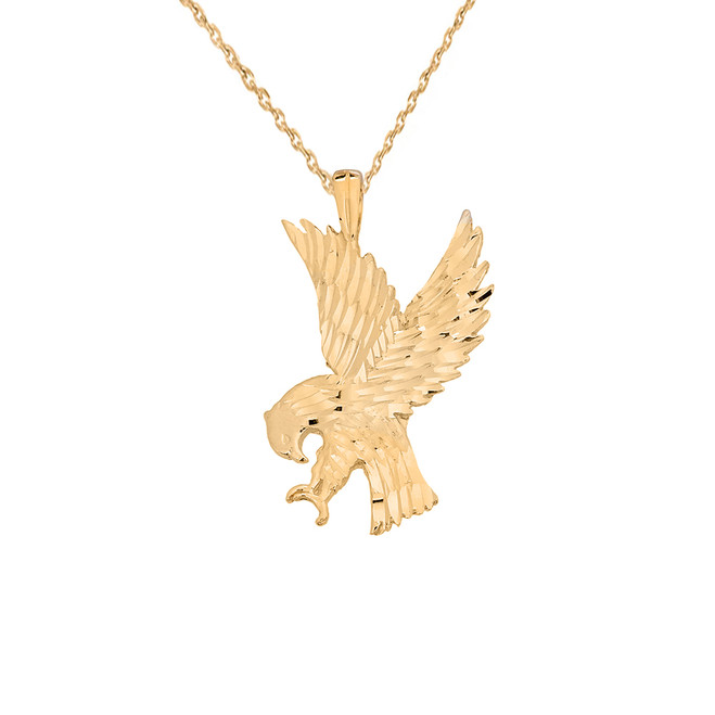 American Eagle Pendant Necklace in Solid Yellow Gold