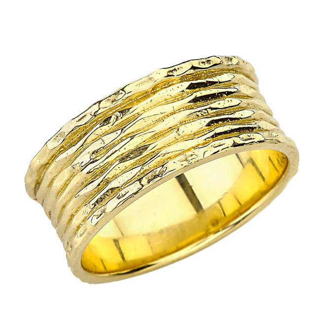 Solid Yellow Gold Ribbed Ring