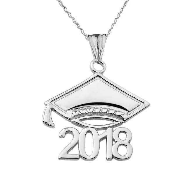 White Gold Class of 2018 Graduation  Cap Pendant Necklace