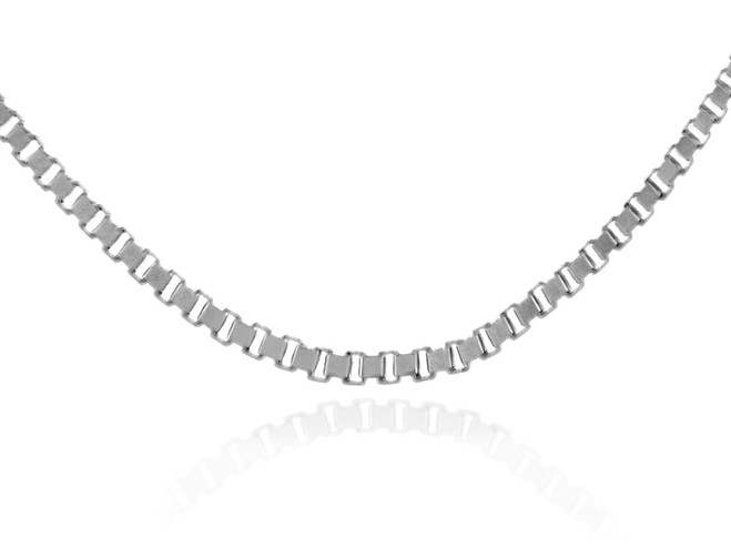 Gold Chains: Box Link White Gold Chain 0.67mm