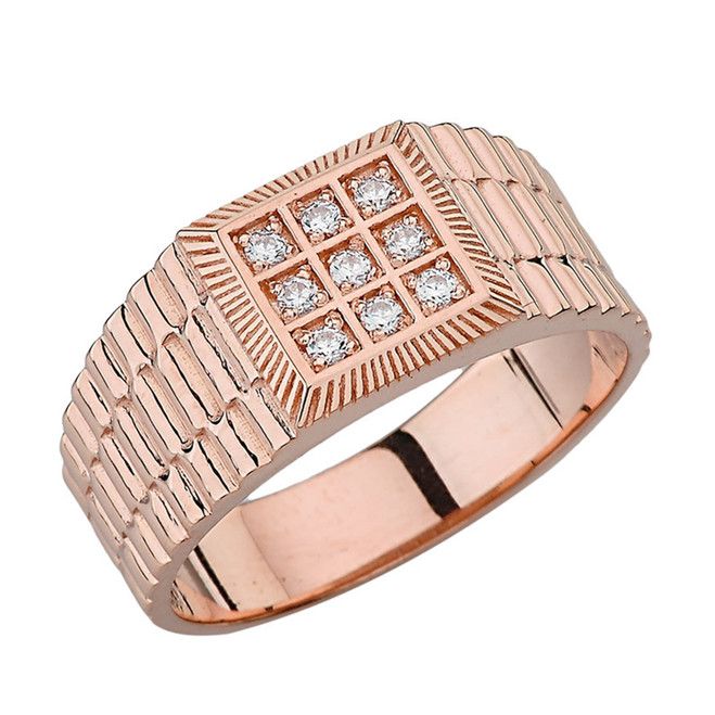 Mens Diamond Watch Band in Rose Gold