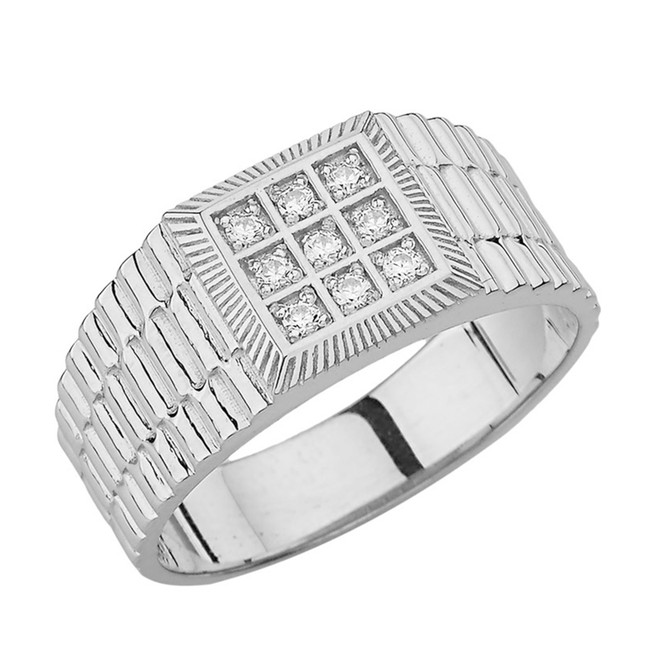 Mens Diamond Watch Band in White Gold