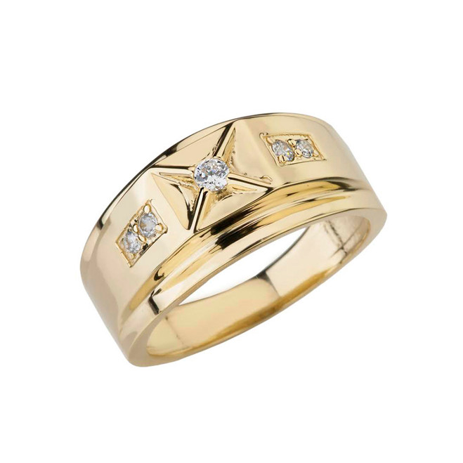 Classy Mens Diamond Ring in Yellow Gold